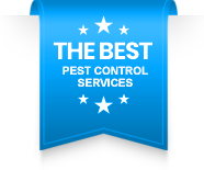 """Blue ribbon that says """"THE BEST Pest Control Services"""" in white font."""