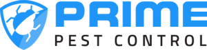 The logo for Prime Pest Control: a blue and white shield with a bug crawling on it.