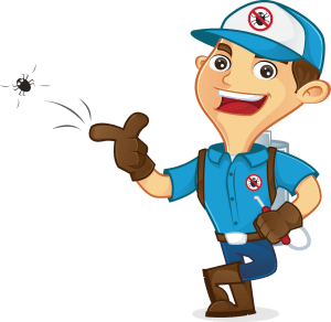 Cartoon image of a pest control exterminator flicking away a cockroach